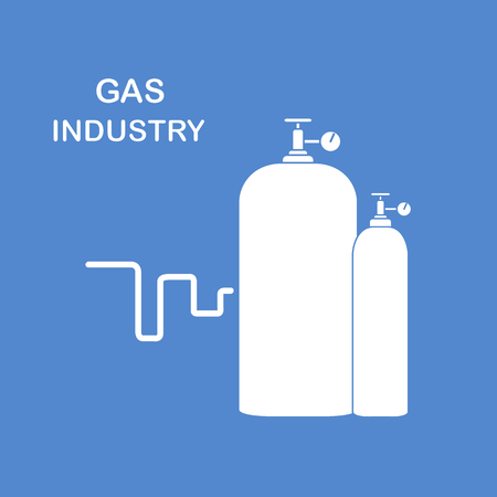 Gas cylinders. Gas industry. Design for poster or print.