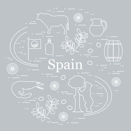 Vector illustration with various symbols of Spain arranged in a circle. Travel and leisure. Design for banner, poster or print. Illustration
