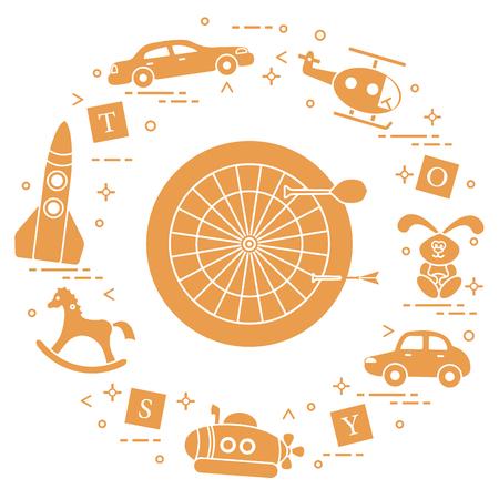 Kids toys: darts, helicopter, blocks, rabbit, bathyscaphe, rocking horse, rocket, cars. Design element for postcard, banner or print.