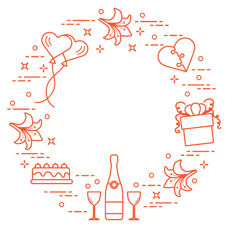 Romantic symbols arranged in a circle: gift, balloons, cake, lily, stemware, bottle, heart in the form of puzzle. Greeting card Valentines Day. Design for banner, poster or print.
