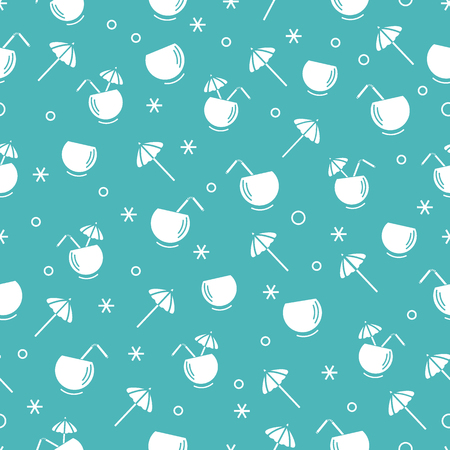 Cute seamless pattern with cocktail in half coconut, tube and umbrella. Travel and leisure. Design for banner, poster or print.