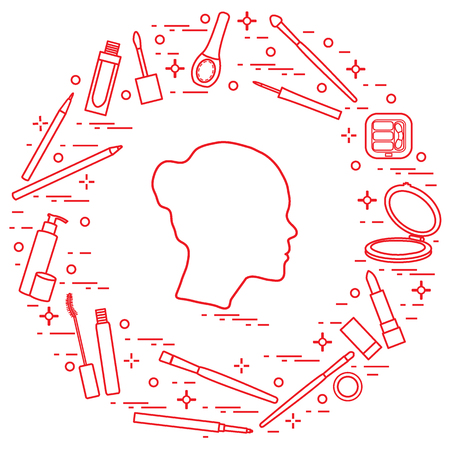 Silhouette of female head and various accessories for the application of decorative cosmetics. Glamour fashion vogue style. Ilustração