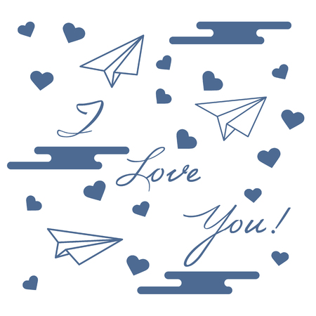 Paper airplane, hearts, clouds and inscription i love you.Template for design, fabric, print. Greeting card Valentine's Day.