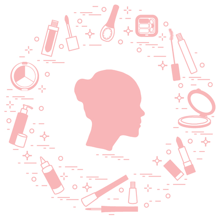 Silhouette of female head and various accessories for the application of decorative cosmetics. Glamour fashion vogue style.  일러스트