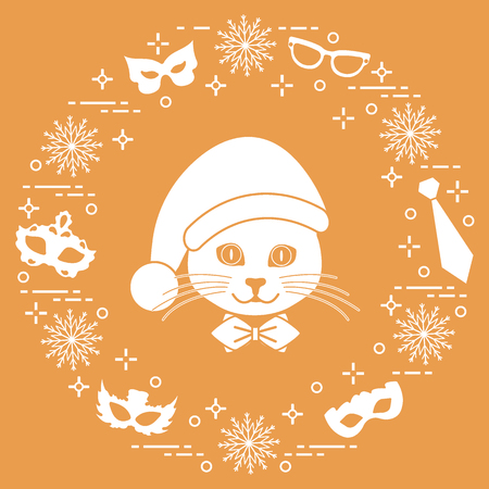 Muzzle of a cat in a Christmas hat and carnival masks, snowflakes, glasses, tie. Carnival festive concept. Costume for a party.