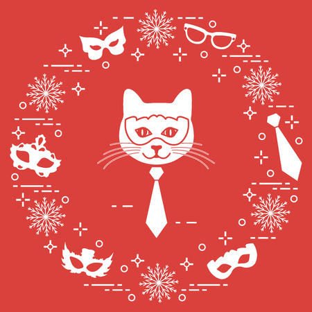 Muzzle of cat and carnival masks, snowflakes, glasses, tie. Carnival festive concept. Costume for party.