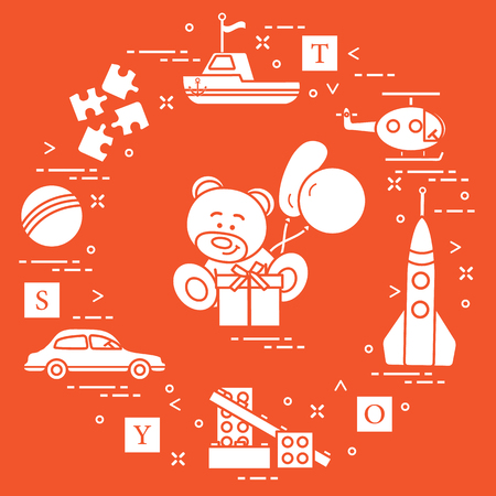Childrens toys: car, bear, ship, helicopter, rocket, designer, ball, puzzle, cubes, gift, balloons. Design for poster or print.