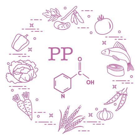 Foods rich in vitamin PP. Beans, fish, tomato, soya beans, peas, garlic, wheat, carrots, cabbage, pepper.