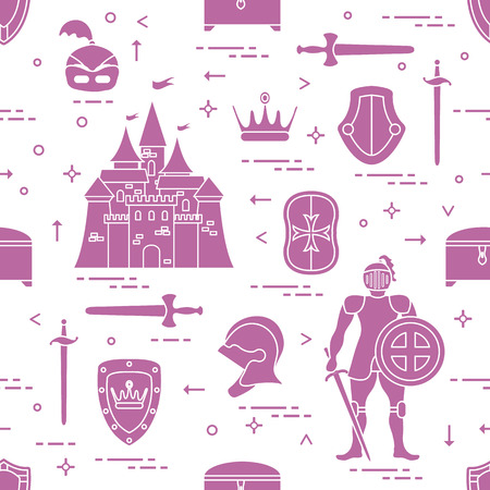Seamless pattern with knighthood elements Illustration
