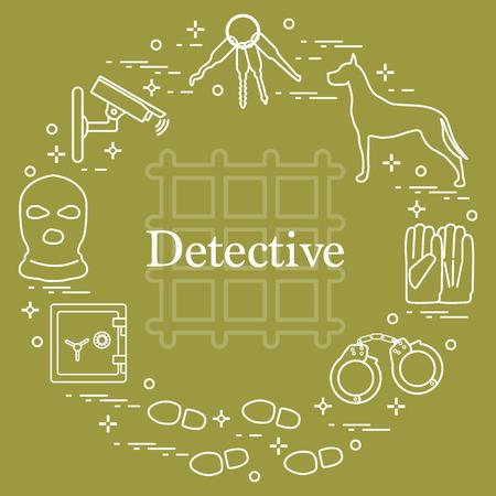 Criminal and detective elements vector illustration