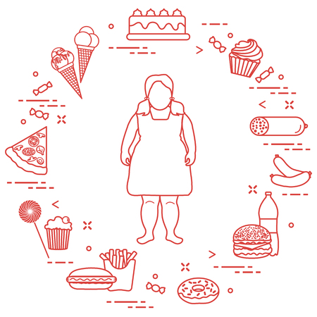 Fat girl with unhealthy lifestyle symbols around her. Harmful eating habits. Design for banner and print.