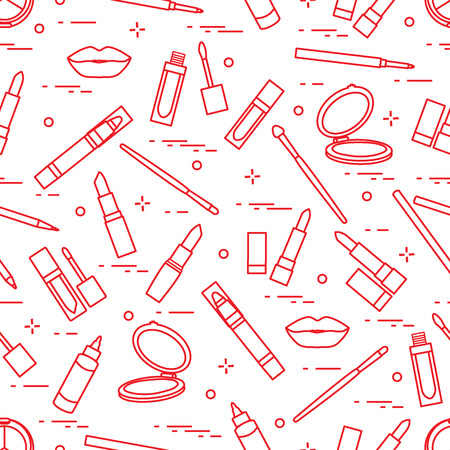 Seamless pattern of different make-up tools