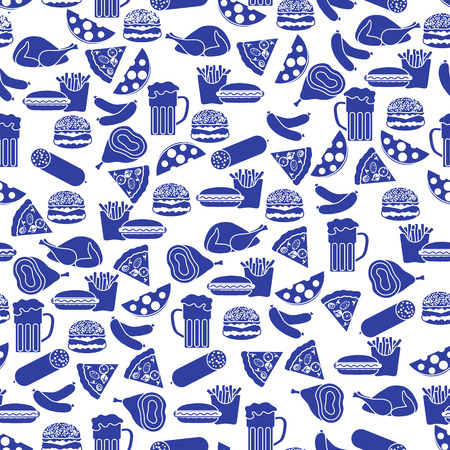 Seamless pattern with different food Ilustração