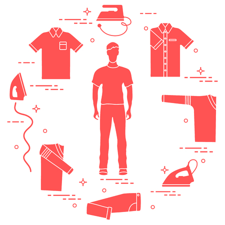 Silhouette of a man, irons and different clothes. Design for banner and print. Vectores