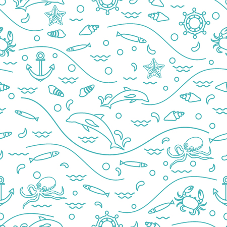 Cute seamless pattern with sea animals