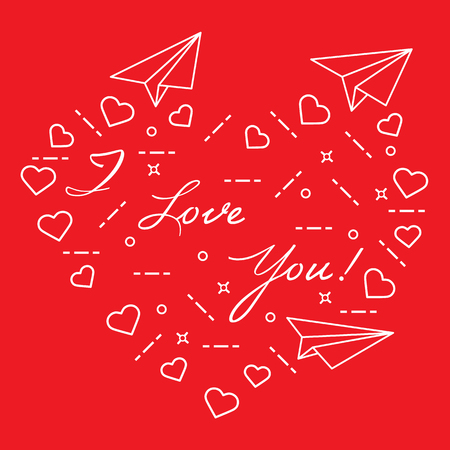 Paper airplane, hearts and inscription i love you vector illustration