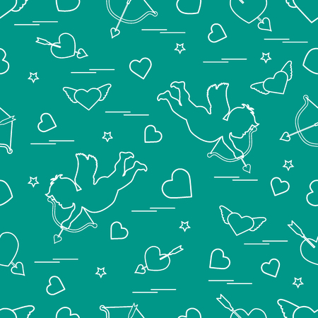 Cute seamless pattern with cupid shoots a bow and hearts. Love symbol. Design for banner, poster or print.  Ilustração