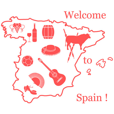 Vector illustration with various symbols of Spain in a map like guitar and bull. Travel and leisure. Design for banner, poster or print.