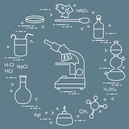 Chemistry scientific, education elements: microscope, Petri dish, dropper, flasks, camera Kippa, formulas, beaker, burner, amoeba. Design for banner, poster or print. 일러스트