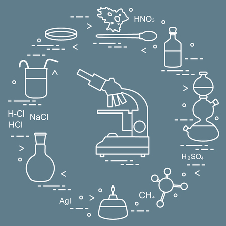 Chemistry scientific, education elements: microscope, Petri dish, dropper, flasks, camera Kippa, formulas, beaker, burner, amoeba. Design for banner, poster or print. 矢量图像