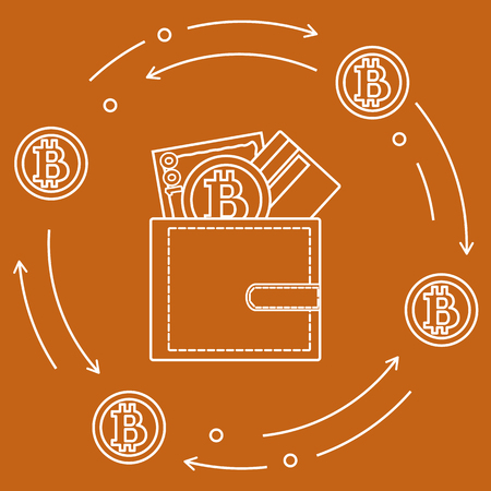 Purse with banknote, credit card and bitcoin. Design for announcement, advertisement, banner or print. Foto de archivo - 95466863