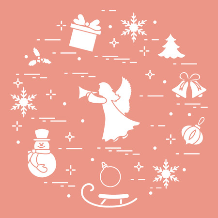 New Year and Christmas symbols like angel and snowman. Winter elements made in line style.