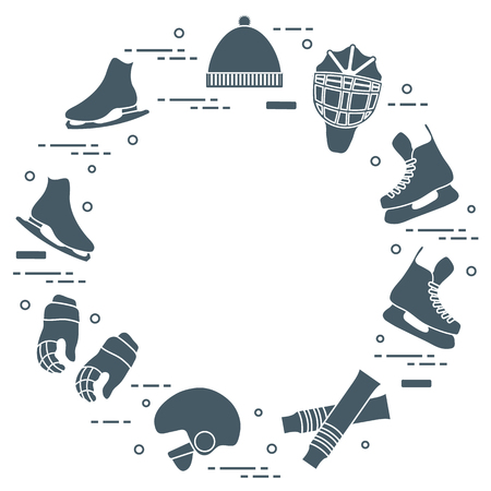 Skates, gloves, hat, goalkeepers mask and helmet, leggings. Winter sports elements.