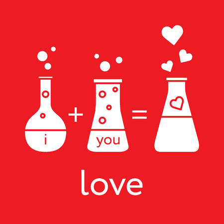 You and me and our chemistry of love. Design for banner, poster or print. Greeting card Valentine's Day. Vectores