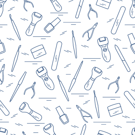 Seamless pattern with variety of tools for manicure and pedicure.