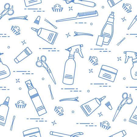 Seamless pattern with professional hairdresser tools. Illustration
