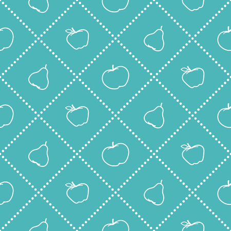 Apples and pears juicy fruits seamless pattern.