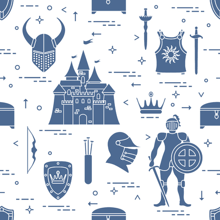 Seamless pattern with knight, castle and accessories.