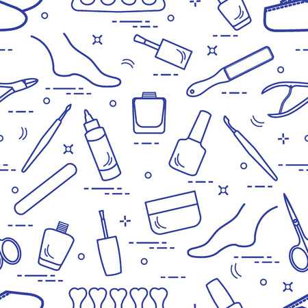Pattern of manicure and pedicure tools and products for beauty and care. Design for banner, poster or print.  イラスト・ベクター素材