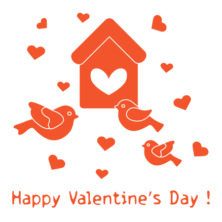 Cute picture with birds, birdhouse and hearts. Template for design, fabric, print. Greeting card Valentine's Day.
