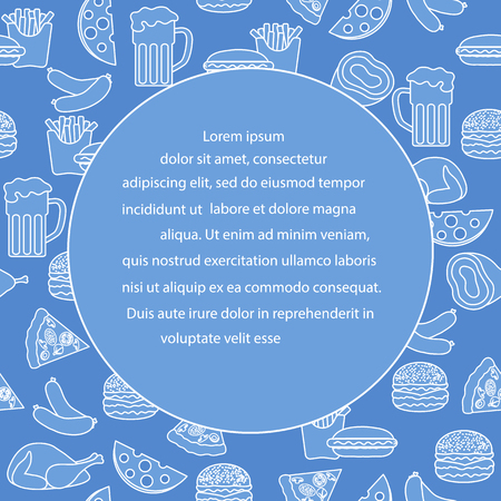 Beer, different types of food and fast food. Design for banner and print.