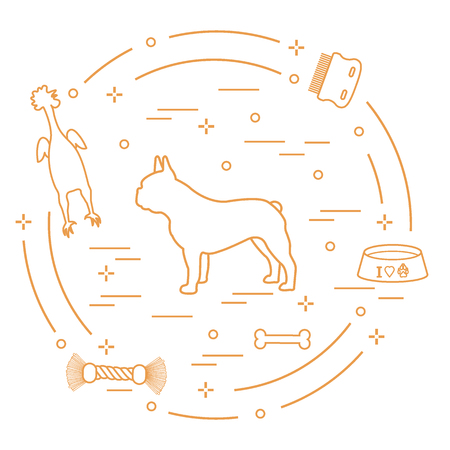 Silhouette of french bulldog, bowl, bone, brush, comb, toys. Design element for postcard, banner, poster or print.