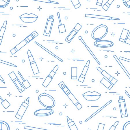 Nahtloses Muster von verschiedenen Lippenmake-upwerkzeugen. Vector Illustration von Lippenstiften, von Spiegel, von Lippenzwischenlage, von Lipgloss und von anderem. Glamour-Mode-Mode-Stil.