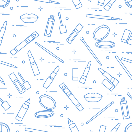Seamless pattern of different lip make-up tools. Vector illustration of lipsticks, mirror, lip liner, lip gloss and other. Glamour fashion vogue style.