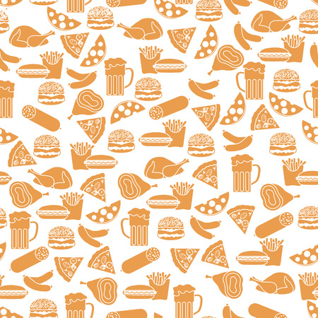 A Seamless pattern with different foods isolated on white background
