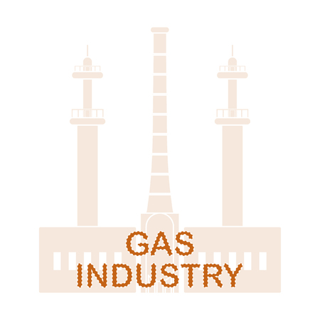 Gas processing plant  Industrial theme. Design for announcement, advertisement, banner or print.