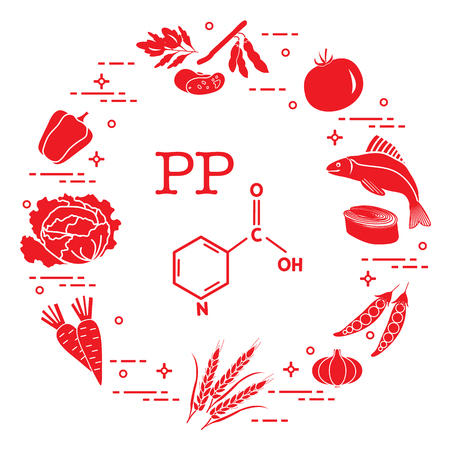 Foods rich in vitamin PP with Beans, fish, tomato, soya beans, peas, garlic, wheat, carrots, cabbage, pepper.