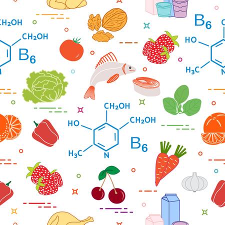 Seamless pattern with foods rich in vitamin B6 with Strawberry, orange, chicken, milk, dairy products, yogurt, cherries, fish, tomato, garlic, walnuts, carrots, spinach, cabbage, pepper.