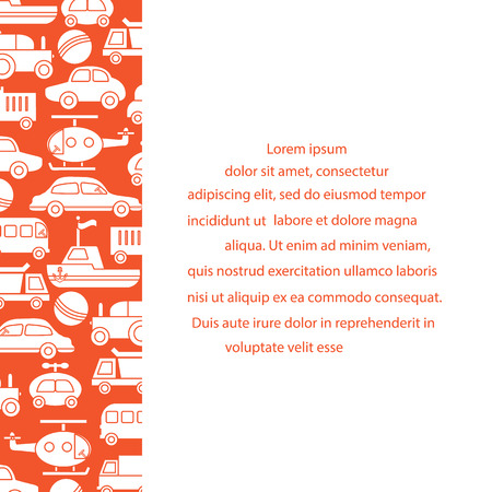 Children's toys: trucks, cars, bus, dump, ball, boat, helicopter. Design for poster or print. Illustration