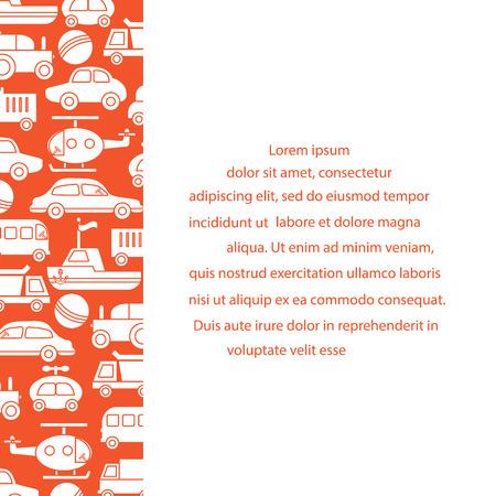 Childrens toys: trucks, cars, bus, dump, ball, boat, helicopter. Design for poster or print.