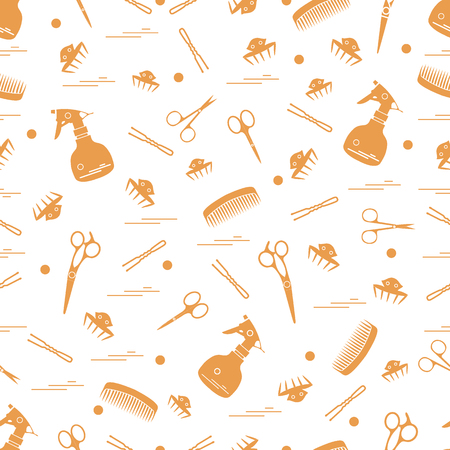 Cute pattern of scissors, combs, hairclip, hairpins and sprayer. For the provision of hairdressing services. Design element for banner, poster or print.