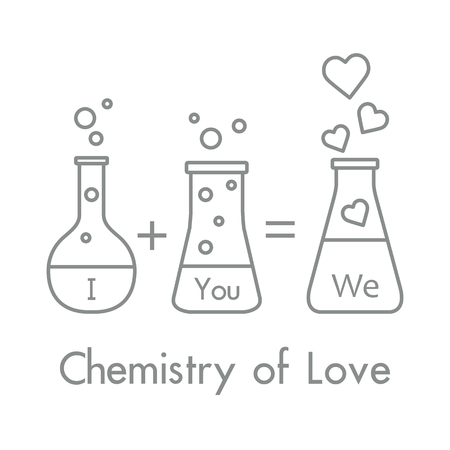 You and me and our chemistry of love concept. Design for banner, poster or print. Greeting card Valentine's Day. Vectores