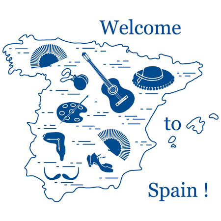 Vector illustration with various symbols of Spain arranged in a circle. Travel and leisure  Design for banner, poster or print.