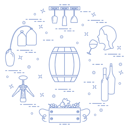 Winemaking: the production and storage of wine concept. winemaking icons vector illustration on white background.