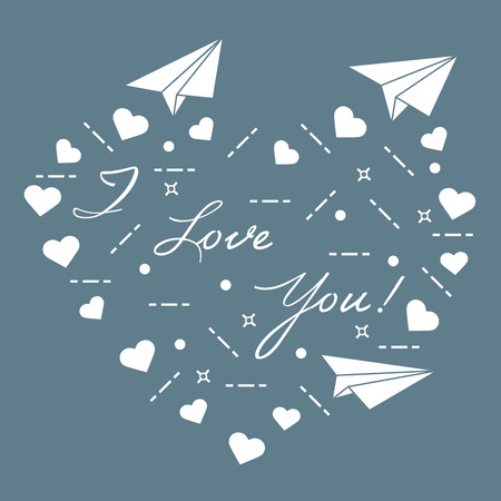 Paper airplane, hearts and inscription i love you. Template for design, fabric, print for Valentine's Day. Vector illustration. Ilustração