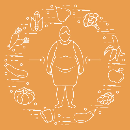 Fat woman with healthy food around her. Vector illustration on color background.
